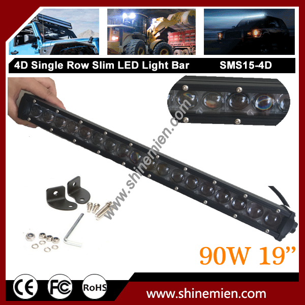 Slim Single Row 19 inch 90W 5W CREE LED 4D Lens OffRoad Spot Light Bar